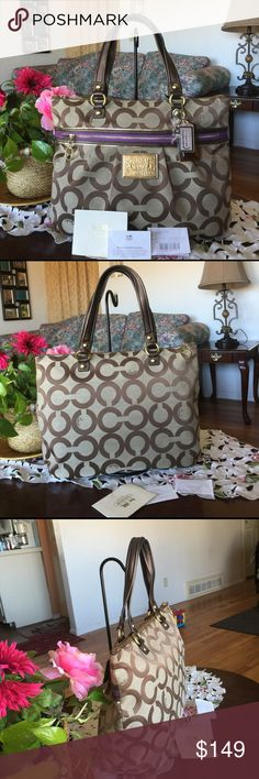 """Coach Op Art Glam Tote Coach Op Art Glam Tote  Style: 15331   Op art fabric with leather trim Inside zip, cell phone and multifunction pockets Zip top closure, fabric lining Outside zip pocket Handles with 8 1/2"""" drop Approx: 16 (L) x 12 (H) x 3 (W) Color: Tan/brown/purple with gold Hardware, it has normal wear from used and little stain on the fabric it shown in the last pix..from smoke & pet free homeCoach Op Art Glam Tote Coach Bags Totes"""