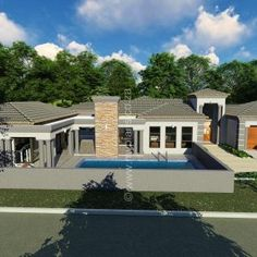 3 Bedroom House Plan – My Building Plans South Africa Round House Plans, Family House Plans, Best House Plans, Modern Bungalow House, Bungalow House Plans, House Floor Plans, 6 Bedroom House Plans, Double Storey House Plans, House Plans South Africa