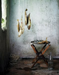 I saw this photo of dried fish and it brought me back to a visit I took to lake Prespa to visit our bean producer, Nonas. They, too, have a tradition of hanging fish to dry.