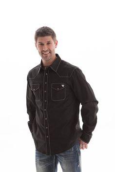 B Tuff Mens Black Cotton Blend Western Shirt Button Up L/S