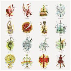 "triste-le-roy: ""Orixá (òrìṣà) symbol chart of the Yoruba religion—also worshipped in Santería, Candomblé, Umbanda, and Oyotunji (Ubi Maya, "" Religion In Africa, Yoruba Religion, Yemaya Orisha, Body Art Tattoos, Tatoos, Orishas Yoruba, Ying Y Yang, African Tattoo, Tattoo Project"