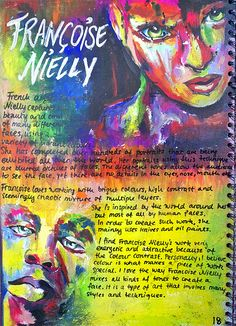Artist Research Page, Francoise Nielly - A Level Art Sketchbook - A Level Art Sketchbook, Sketchbook Layout, Textiles Sketchbook, Sketchbook Pages, Sketchbook Inspiration, Sketchbook Ideas, Artist Sketchbook, Layout Inspiration, Journal Inspiration