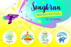 Songkran water festival by Tatiana Mukhina on Thailand Festivals, Songkran Festival, Jpg File, Art School, Graphic Illustration, I Shop, Banner, Templates, Creative