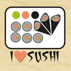 "I love sushi  by Golosinavisual    ART PRINT / X-LARGE (GALLERY) (28"" X 28"")  $44.00"