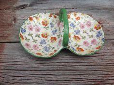 Vintage flowered dish on Etsy, $8.00