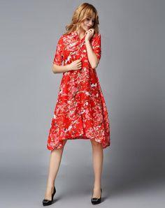 VIPme (VIPSHOP Global) - GUSTAVO ARANGO Red Floral Sweet Mid-Length Floral Lapel Outerwear - AdoreWe.com