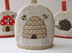 Machine Embroidery Ideas SewforSoul: Applique 'Bee Hive' Egg Cosy with Freestyle Machine Embroidery. Freehand Machine Embroidery, Free Motion Embroidery, Machine Embroidery Patterns, Applique Patterns, Applique Designs, Applique Quilts, Embroidery Applique, Embroidery Designs, Machine Applique