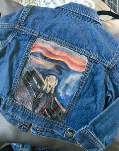 Childs Hand Painted Denim Jean Jacke - Upcycled-Artikel - inspiriert von Munch The Scream - Jeansjacke Outfit Painted Denim Jacket, Painted Jeans, Painted Clothes, Hand Painted, Custom Clothes, Diy Clothes, Denim Jeans, Dress With Jean Jacket, Nordstrom Jeans