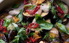 Aubergines with black garlic