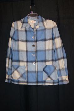 1950s Blue & Gray Plaid Pendleton 49er Jacket