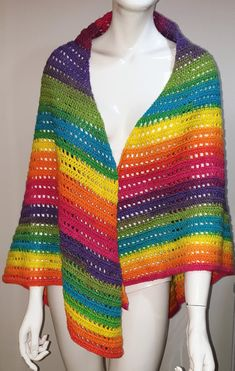 this listing is for handmade multi coloured shawl part of my monster collection the shawl is made of stripes and mesh rows and measures across the top is 67 inches down the sides is 48 inches to to bottom is 40 inches Knitted Baby Cardigan, Knitted Hats, Green Girl, Handmade Shop, Handmade Gifts, Unique Gifts, Childrens Gifts, Festival Looks, Knit Fashion