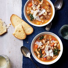 Slow Cooker Tuscan White Bean Soup Recipe I used sweet turkey Italian sausage, the entire bag of beans, three carton of chicken broth.