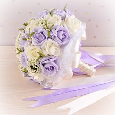2016 Beautiful Purple Wedding Bouquet All Handmade Bridal Flower Wedding Bouquets Artificial Pearls Flower Rose Bouquet-in Wedding Bouquets from Weddings & Events on Aliexpress.com | Alibaba Group