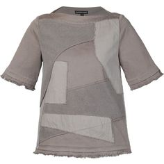 Alexandre Plokhov patchwork sweatshirt (2.095 BRL) ❤ liked on Polyvore featuring tops, hoodies, sweatshirts, grey, bateau neckline tops, slash neck top, gray top, cotton sweatshirt and short sleeve tops