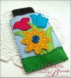felt cell phone case using JustRite Papercraft Applique Flowers stamp set