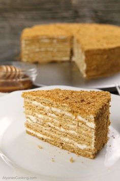 Honey Cake Recipe (Medovik) Russian-Store CopyCat Our local Russian Store sells these amazingly soft, spongey and thin cake layers that make for one of the most delicious honey cake sold in the area, known as the Medovik. Russian Honey Cake, Russian Cakes, Russian Desserts, Russian Recipes, Czech Desserts, Russian Pastries, Armenian Recipes, Plated Desserts, Honey Cake Recipe Easy