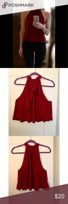 Burgundy mock neck cropped top Deep red mock neck cropped tank with open back. Like-new worn only once or twice Pins & Needles Tops Tank Tops