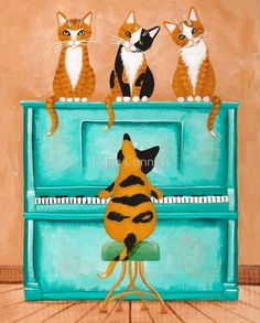 Piano Playing Cat Original Cat Folk Art Painting by KilkennycatArt on Etsy Frida Art, Cat Art Print, Naive Art, Cat Drawing, Cat Design, Poster, Belle Photo, Folk Art, Watercolor Paintings