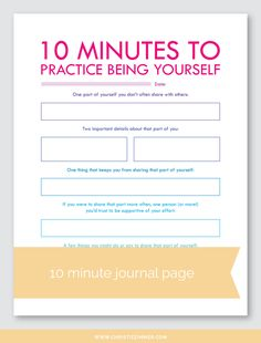 10 Minute Printable Guided Journal Pages — Christie Zimmer Counseling Activities, Self Care Activities, Work Activities, Journal Writing Prompts, Journal Pages, Memoir Writing, Art Journals, Blabla, Therapy Journal