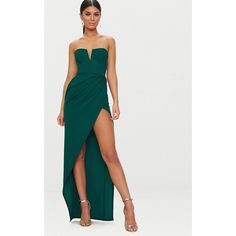 Emerald Green Bandeau V Bar Wrap Detail Maxi Dress ($28) ❤ liked on Polyvore featuring dresses, emerald green, maxi length dresses, bandeau maxi dress, wrap maxi dress, emerald green dress and emerald green maxi dress