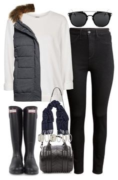 """""""Outfit for a rainy day"""" by ferned ❤ liked on Polyvore featuring H&M, Topshop, Superdry, Hunter, Alexander Wang, Forever 21 and Acne Studios"""