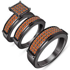 Mens Women's Engagement Ring Trio Set Orange Sapphire Black Gold Over 925 Silver