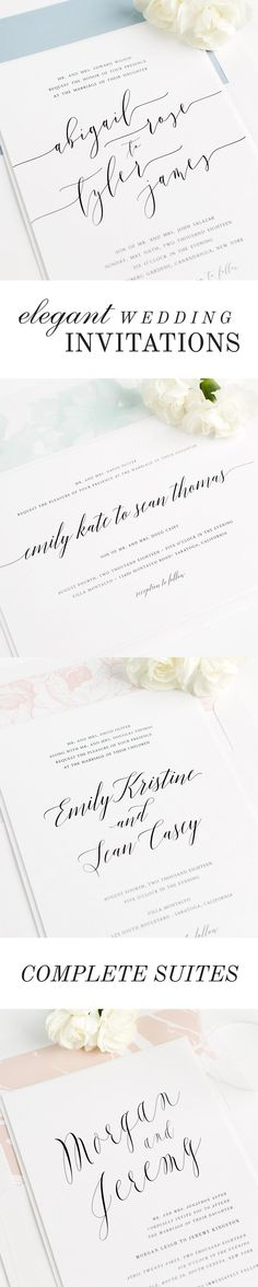 Over 100 gorgeous wedding invitations styled to perfection, featuring elegant calligraphy, customizable envelope liners, belly bands and more. Each design features a full suite of matching collection items to carry your stationery theme throughout your big day!