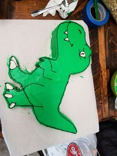 Red T Rex birthday cake template fits 9 circular cake tin