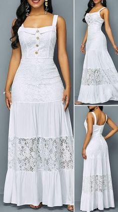 Button Detail Ruffle Hem Lace Patchwork Dress - New Site Pretty Dresses, Sexy Dresses, Beautiful Dresses, Dress Outfits, Casual Dresses, Fashion Outfits, Summer Dresses, Formal Dresses, Wedding Dresses
