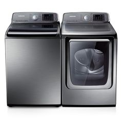 5.0 CU FT. Top Load Washer & 7.4 CU FT. Front Load Electric Dryer-Star Energy from Samsung #appliances