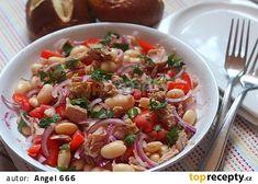 Toskánský tuňákový salát s fazolemi recept - TopRecepty.cz Kung Pao Chicken, Pasta Salad, Potato Salad, Food And Drink, Potatoes, Cooking, Ethnic Recipes, Treats, Crab Pasta Salad