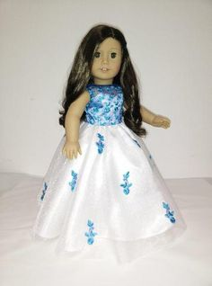 White and Blue Dress Gown for American Girl Doll