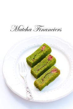 matcha financiers with cherry blossoms