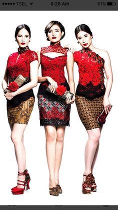 Kebaya Lace, Batik Kebaya, Kebaya Dress, Batik Dress, Lace Dress, Stylish Dresses, Elegant Dresses, Philippines Fashion, Model Kebaya