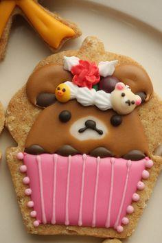 Kawaii Rilakkuma icing cookies