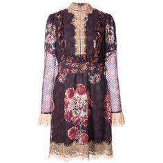 Anna Sui rose print high neck dress ($634) ❤ liked on Polyvore featuring dresses, anna sui, anna sui dress, rose pattern dress, rose print dress and high neck dress