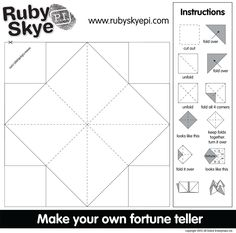 Make your own Fortune Teller or Cootie Catcher Origami Fortune Teller Template, Origami Templates, Free Calendar Template, Templates Printable Free, Printables, Cootie Catcher Template, Fortune Teller Game, Math Anchor Charts, Kids Origami