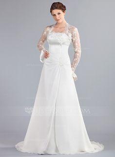 Corte A/Princesa Estrapless Tren de la corte Gasa Vestido de novia con Volantes Encaje Bordado.