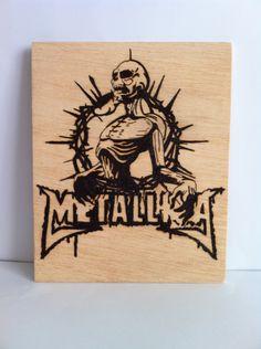 Metallika wooden woodburning art, $21.99
