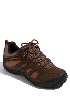 Merrell 'Chameleon 4 Ventilator GTX' Hiking Shoe  Rugged hiking shoe features a breathable, antimicrobial Gore-Tex lining and a compression-molded EVA footbed. Signature Air Cushion in the heel absorbs shock, while a durable lugged Vibram sole lends stability. Color(s): espresso, stone.