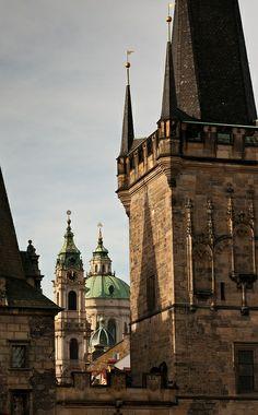 Lesser Town Tower of Charles Bridge and St.Nicolas chuirch, Prague, Czechia