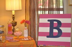 The canvas was used for guests to sign for the baby's room.
