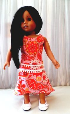 8fa61b101235c7 Orange, Pink and White Paisley Doll Skirt and Doll Blouse / 18 Inch Doll  Clothes / Doll Accessories / Fits American Girl Doll