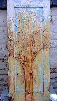 Carved wood door