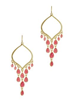 Relic RJ2346715 Jewelry,Women's Gold Tone With Pink Dangling Stones Earrings, Women's Relic Earrings Jewelry