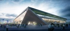 Image 1 of 3 from gallery of MLZD and Sollberger Bögli Win Competition to Design Lausanne Football Stadium. Photograph by Loomn Architektur Visualisierung Gymnasium Architecture, Architecture Design, Stadium Architecture, Office Building Architecture, Architecture Visualization, Building Exterior, Amazing Architecture, Building Design, Office Buildings