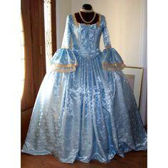 Marie Antoinette Dress Costume (1.270 BRL) ❤ liked on Polyvore featuring costumes, marie antoinette halloween costume, blue halloween costume, blue marie antoinette costume, blue costume and marie antoinette costume