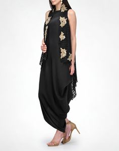 KAVITA BHARTIA Black Side Drape Dress $182 silk crepe 100% silk sleeveless, side drape round neck fitted at the bust and drapes loosely below