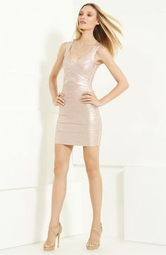 Herve Leger Metallic Bandage Dress | Nordstrom