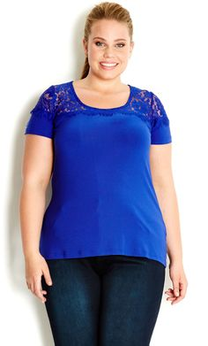 City Chic - COLOURED LACE INSERT TOP - Women's plus size fashion #citychic #citychiconline #newarrivals #plussize